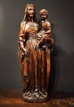 Virgin Sculptor Wood Maria 16/17th Century France Old master Raffaello Religious