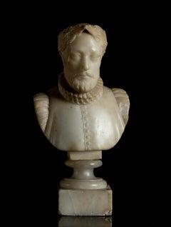 White Alabaster Sculpture Bust portrait of Miguel de Cervantes Grand Tour 20th