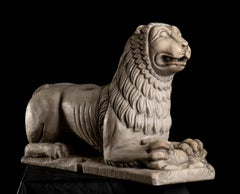 White Marble Figurative Sculpture Stylophore Lion Central Italy 19th Century