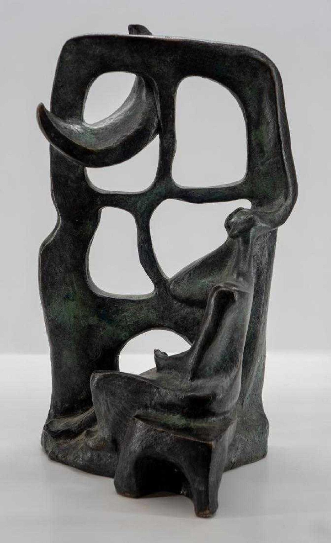 Woman In The Moonlight at the Window Latin American Bronze Modernist Sculpture