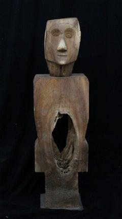 """Wooden Man"" Freestanding Wood Sculpture with Metal Base"