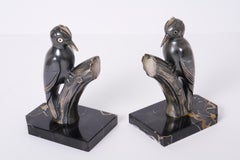 Woodpeckers - Bookends, White Metal, Silver, Glass, Art Deco