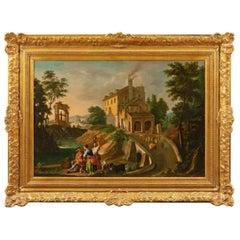 "Unknown Spanish Artist, 18th Century, ""A pastoral scene"""