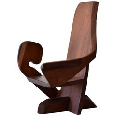 Unknown Studio Craftsman, Armchair in Sculpted and Joined Hardwood Slabs, 1980s