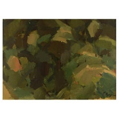 Unknown Swedish Artist, Oil on Board, Abstract Modernist Landscape, 1960s