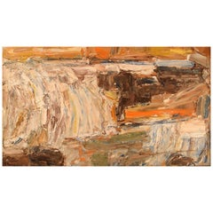 Unknown Swedish Artist, Oil on Canvas, Modernist Landscape, Dated 1963