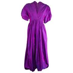 Unlabelled  Madame Grès iridescent lilac silk evening jumpsuit  circa 1970s