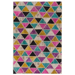 Unlimited Triangles Design Patchwork Rug, Custom Options Available