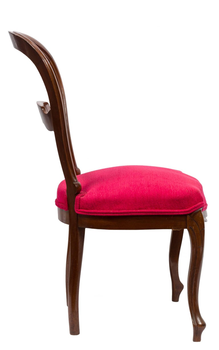 Victorian Unmatched Pair of Walnut Spanish Isabelinas Chairs, New Red Upholstery For Sale