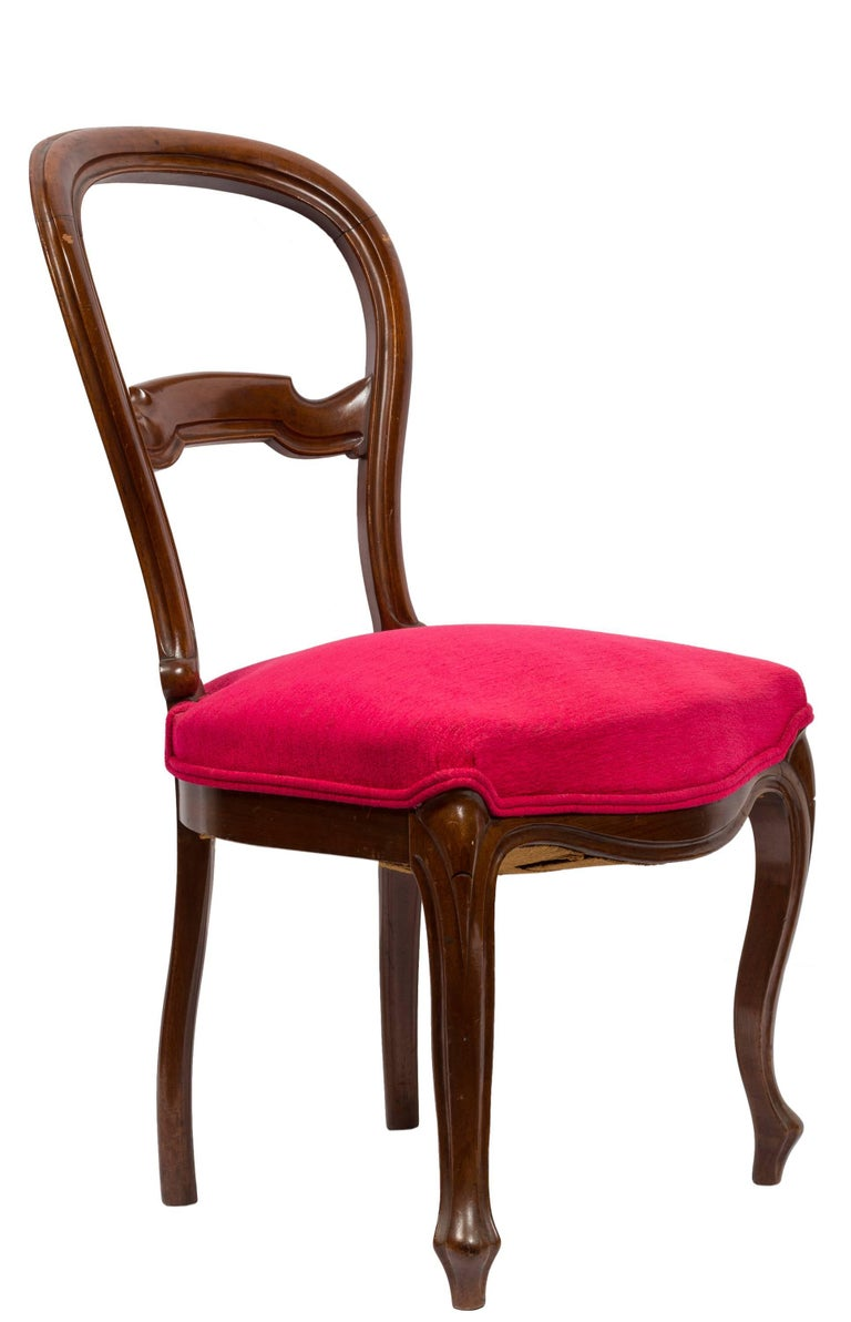 Carved Unmatched Pair of Walnut Spanish Isabelinas Chairs, New Red Upholstery For Sale