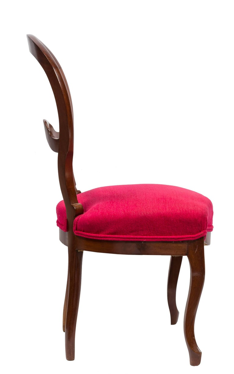 19th Century Unmatched Pair of Walnut Spanish Isabelinas Chairs, New Red Upholstery For Sale