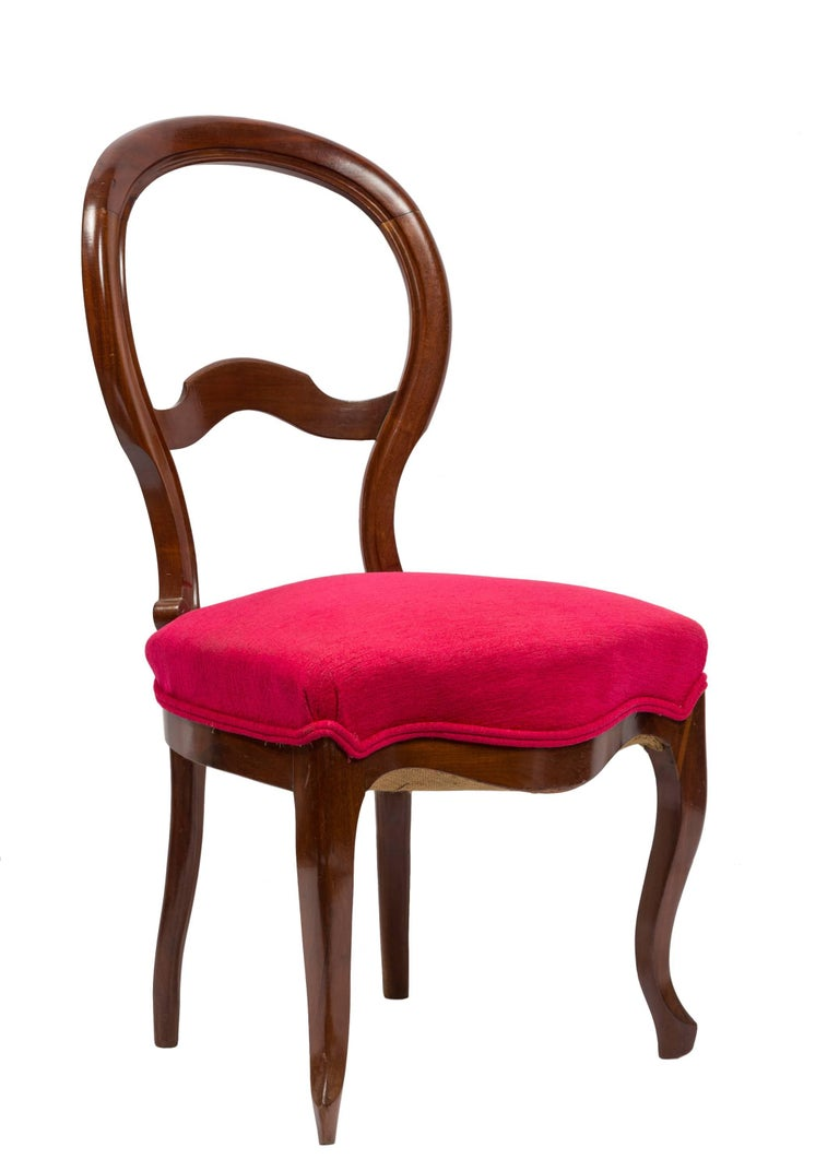 Unmatched Pair of Walnut Spanish Isabelinas Chairs, New Red Upholstery For Sale 1