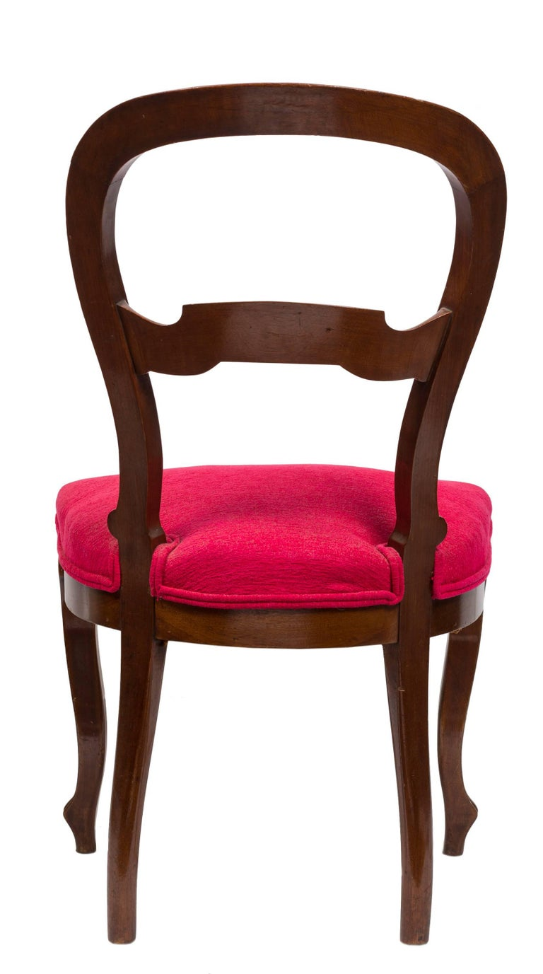 Unmatched Pair of Walnut Spanish Isabelinas Chairs, New Red Upholstery For Sale 2
