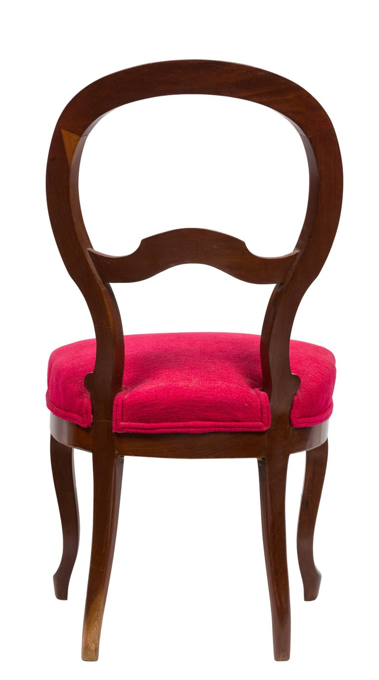 Unmatched Pair of Walnut Spanish Isabelinas Chairs, New Red Upholstery For Sale 3