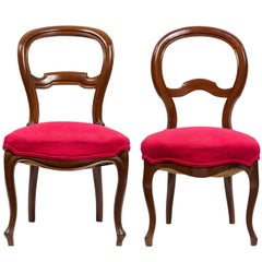 Unmatched Pair of Walnut Spanish Isabelinas Chairs, New Red Upholstery
