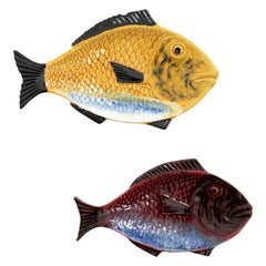 Unmatching Pair of Glazed Ceramic Fish Plates Wall Decorations or Platters