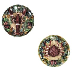 Unmatching Pair of Majolica Ceramic Trompe L'oeil Crab Lobster Wall Plates