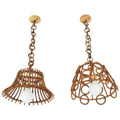 Unmatching Pair of Rattan Bamboo Italian Pendants or Hanging Lamps