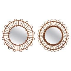 Unmatching Pair of Rattan Round Sunburst Mirrors