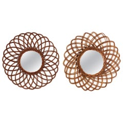 Unmatching Pair of Rattan Sunburst Flower Shaped Mirrors, Spain, 1960s