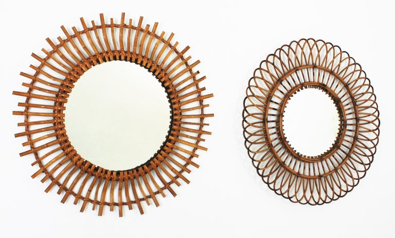 Unmatching Pair of Rattan Sunburst Mirrors, Spain, 1960s For Sale 3