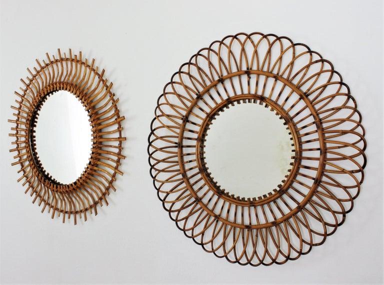 Mid-Century Modern Unmatching Pair of Rattan Sunburst Mirrors, Spain, 1960s For Sale