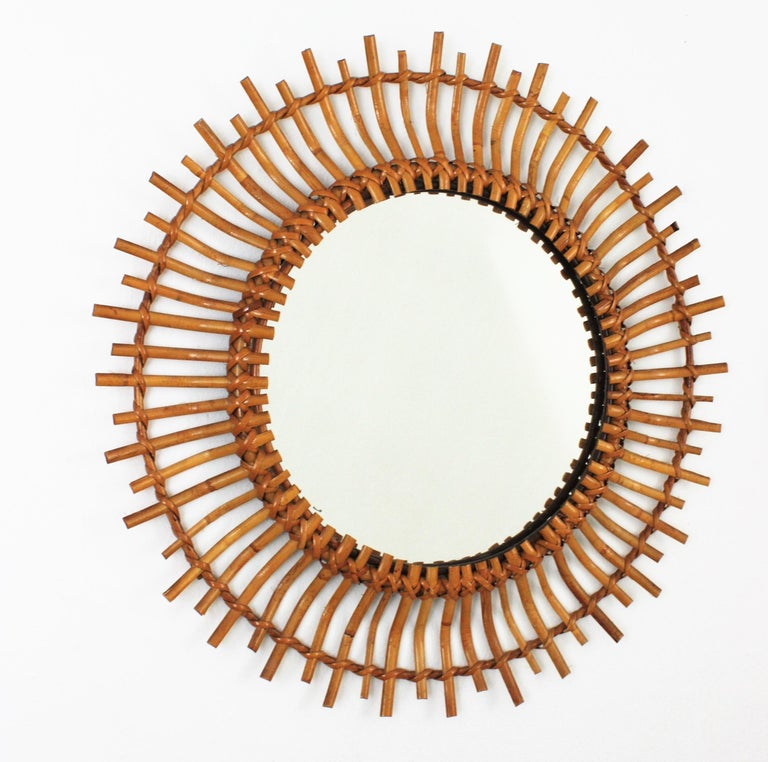 Hand-Crafted Unmatching Pair of Rattan Sunburst Mirrors, Spain, 1960s For Sale