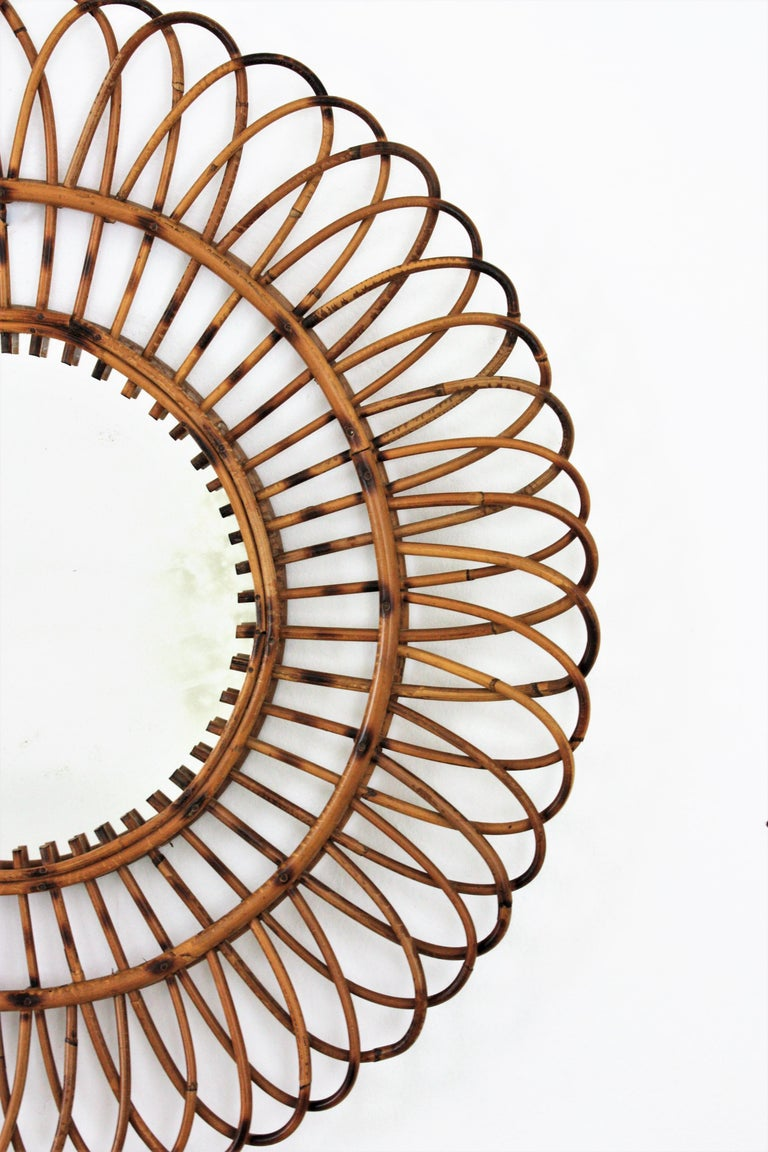 Unmatching Pair of Rattan Sunburst Mirrors, Spain, 1960s For Sale 2