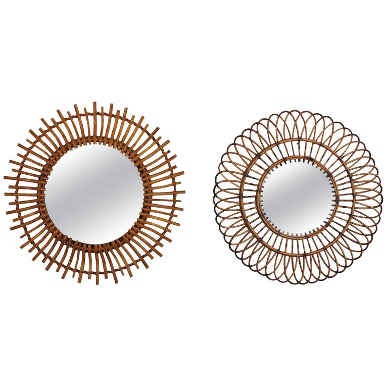 Unmatching Pair of Rattan Sunburst Mirrors, Spain, 1960s For Sale