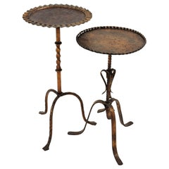 Unmatching Pair of Spanish Drinks Tables or Side Tables in Gilt Iron, 1940s