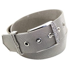 Uno-A-Erre 18 Karat White Gold and Diamond Mesh Double Wrap Bracelet