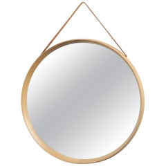 Uno and Osten Kristiansson Round Oak Mirror by Luxus, Sweden, 1960s