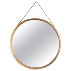 Uno and Osten Kristiansson Round Oak Mirror by Luxus Vittsjö, Sweden, 1960s
