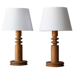 Uno Kristiansson, Pair of Table Lamps, Turned Solid Pine, Luxus, Sweden, 1960s