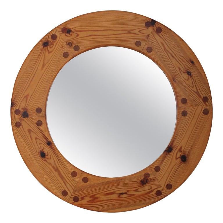 Uno Kristiansson, Round Wall Mirror, Solid Pine, Luxus, Sweden, 1960s For Sale