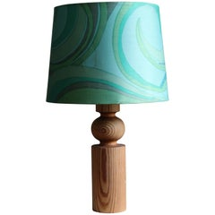 Uno Kristiansson, Table Lamp, Stained Solid Pine, Luxus, Sweden, 1960s
