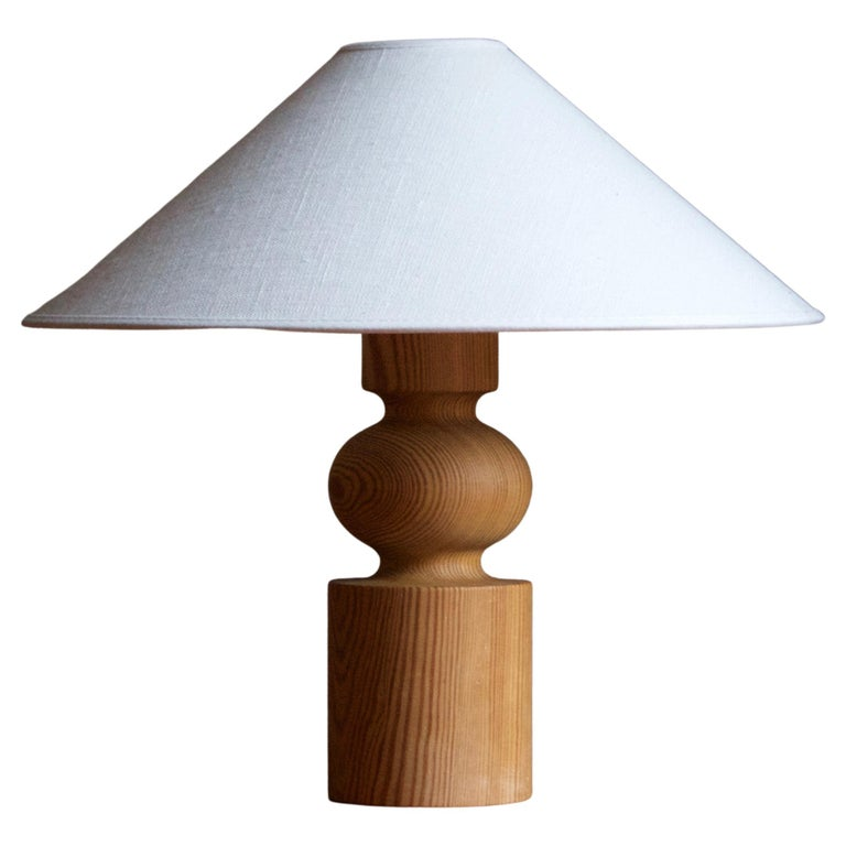 Uno Kristiansson, Table Lamp, Turned Solid Pine, Luxus, Sweden, 1970s For Sale