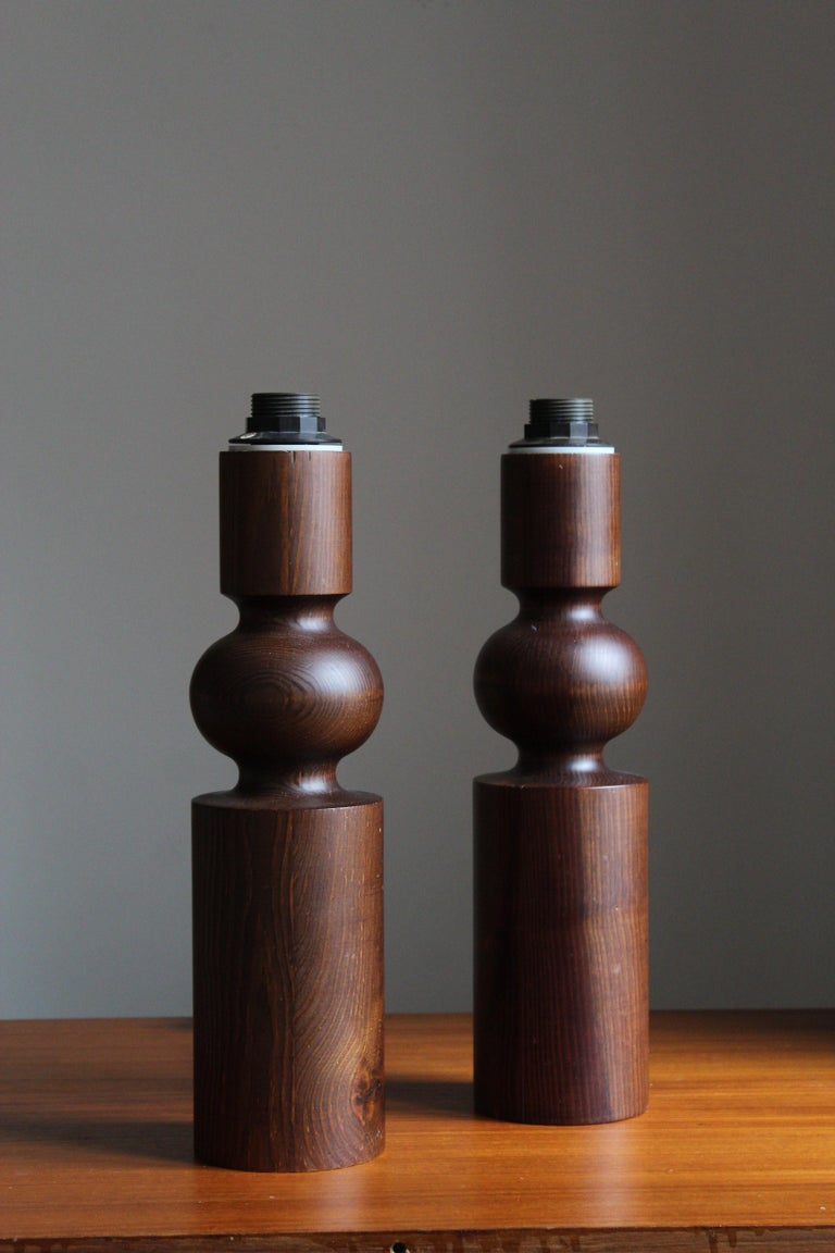 Mid-Century Modern Uno Kristiansson, Table Lamps, Stained Solid Pine, Luxus, Sweden, 1960s For Sale