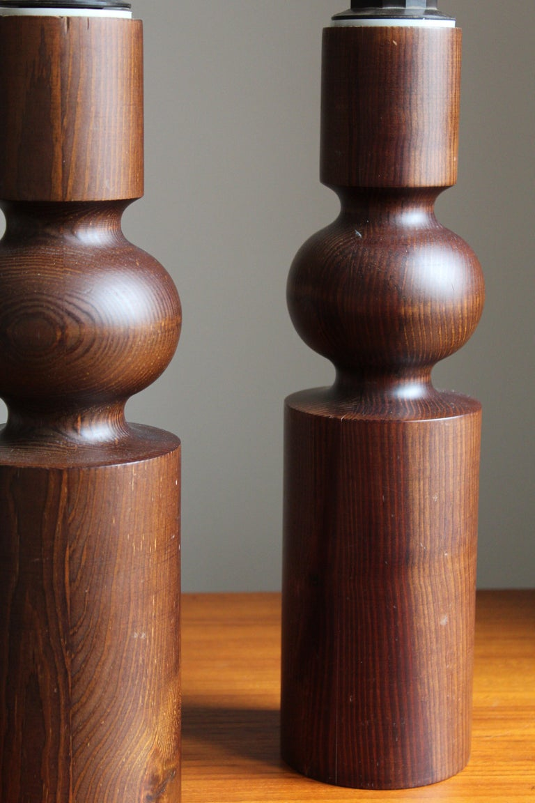 Swedish Uno Kristiansson, Table Lamps, Stained Solid Pine, Luxus, Sweden, 1960s For Sale