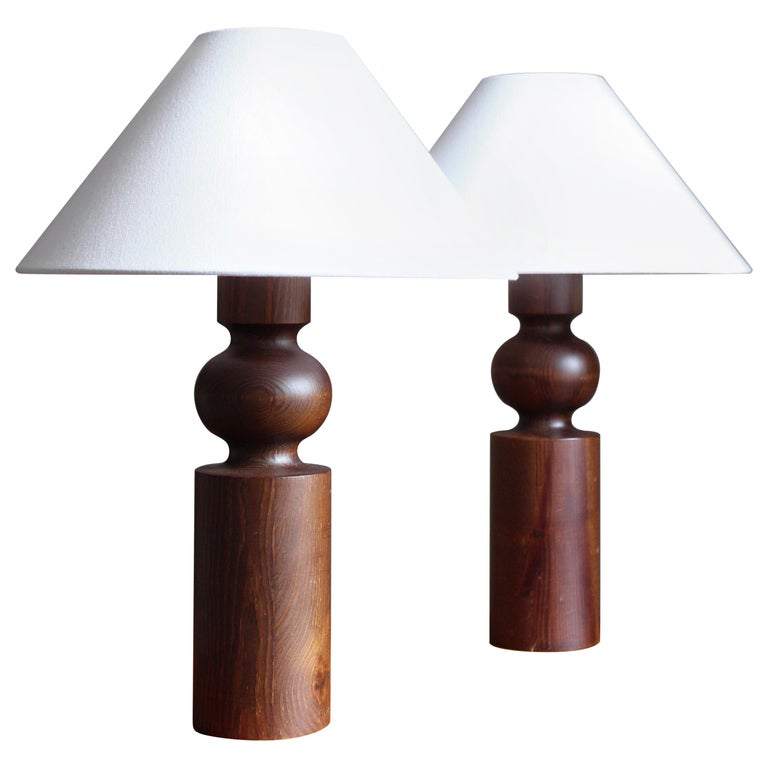 Uno Kristiansson, Table Lamps, Stained Solid Pine, Luxus, Sweden, 1960s For Sale