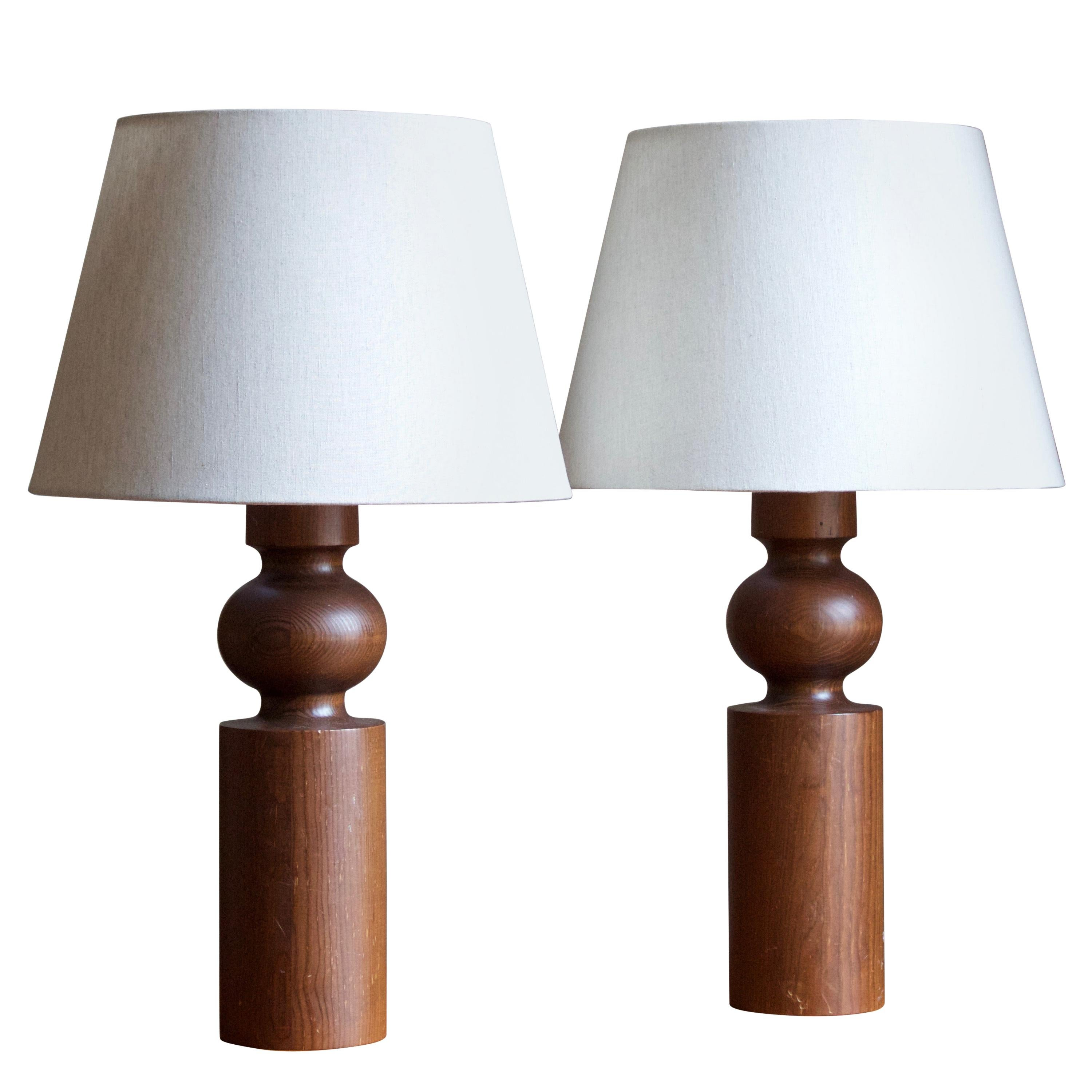 Uno Kristiansson, Table Lamps, Stained Solid Pine, Luxus, Sweden, 1960s