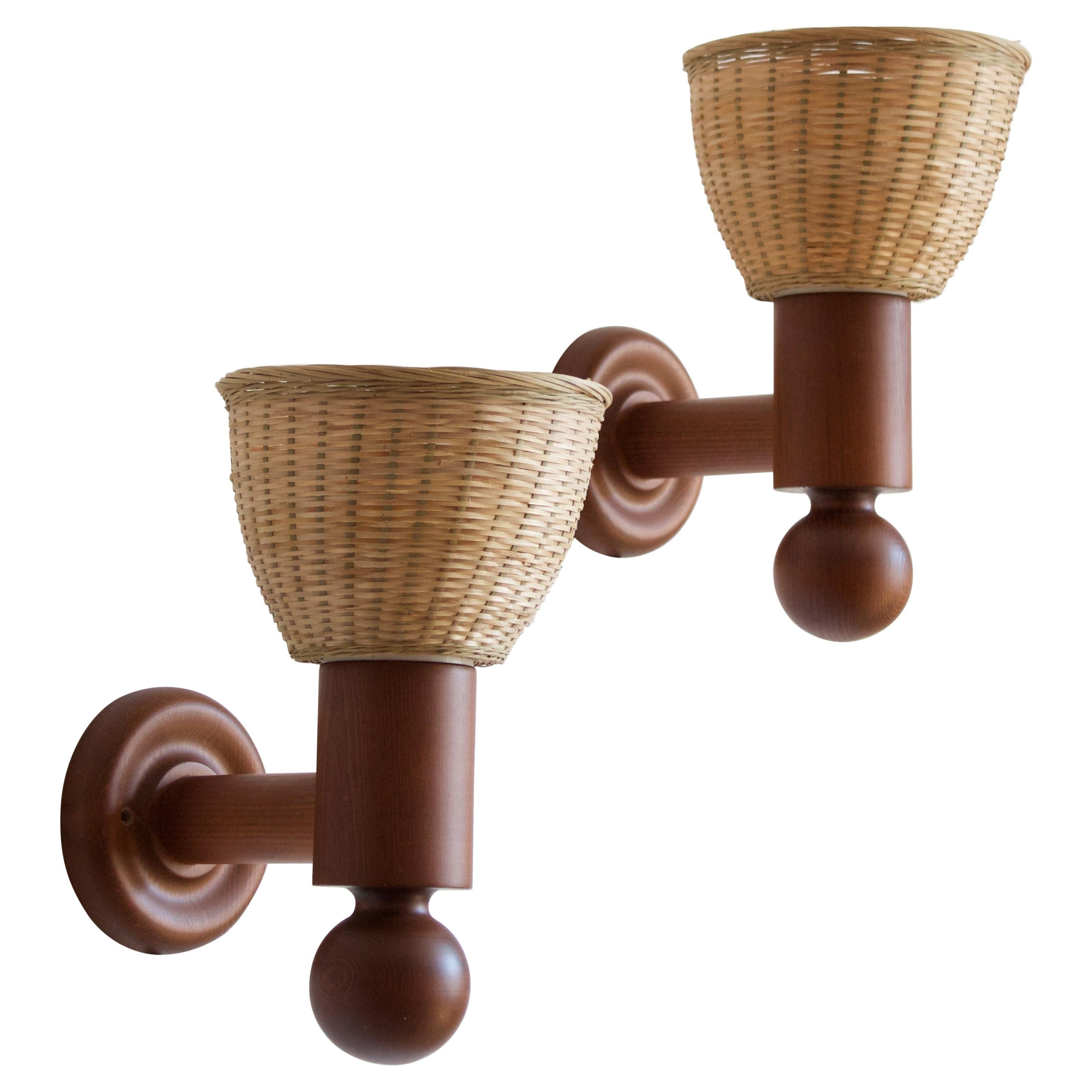 Uno Kristiansson, Wall Lights, Stained Pine, Rattan, Luxus, Sweden, 1960s