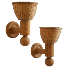 Uno Kristiansson, Wall Lights, Turned Solid Pine, Rattan, Luxus, Sweden, 1960s