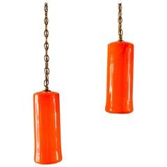 Uno & Östen Kristiansson for Luxus Orange Glass Pendant Lights, circa 1960