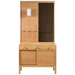 Uno & Östen Kristiansson, Oak & Cane, Chest & Mirror, for Luxus, Sweden, 1960s