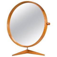 Uno & Östen Kristiansson Oak Table Mirror Model 406 by Luxus, Sweden, 1960s