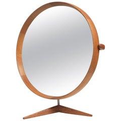 Uno & Östen Kristiansson Oak Table Mirror Model 406 by Luxus, Sweden, 1960s
