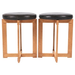 Uno & Östen Kristiansson, Rare Stools in Oak and Leather for Luxus, Sweden 1960s