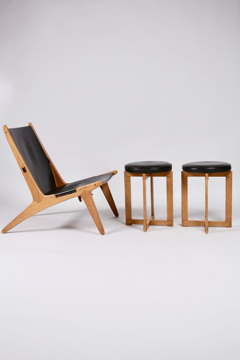 Uno & Östen Kristiansson, Rare Stools in Oak and Leather for Luxus, Sweden 1960s For Sale 7