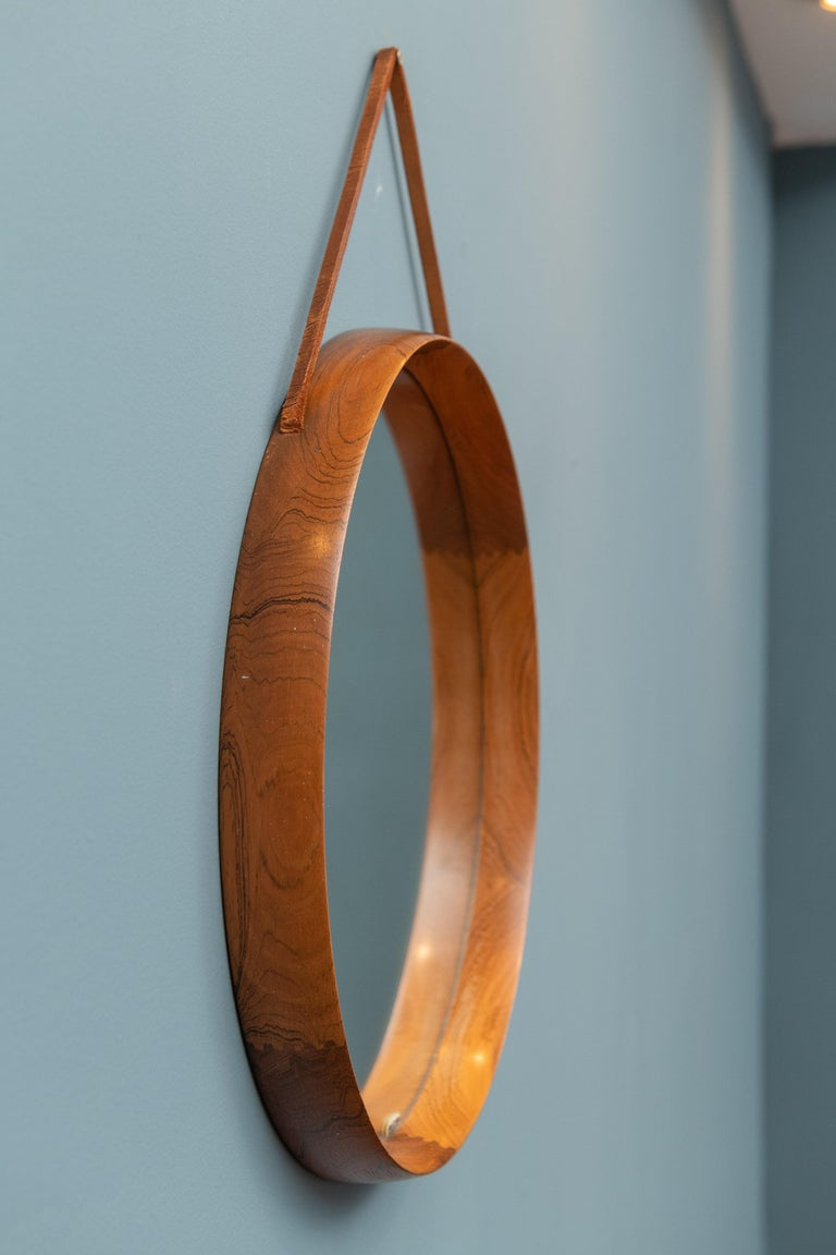 Swedish Uno & Östen Kristiansson Wall Mirror in Teak and Leather For Sale